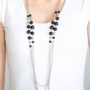 Charmingly Colorful Black & Silver Necklace/Earrng